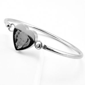 Photo / Message Engraved Stainless Steel Heart Bangle Bracelet